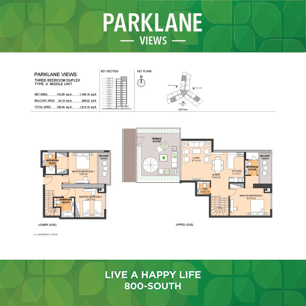 Parklane Views Three Bedroom Duplex Type A Middle Unit