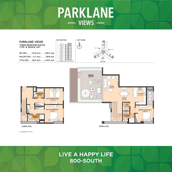 Parklane Views Three Bedroom Duplex Type B Middle Unit