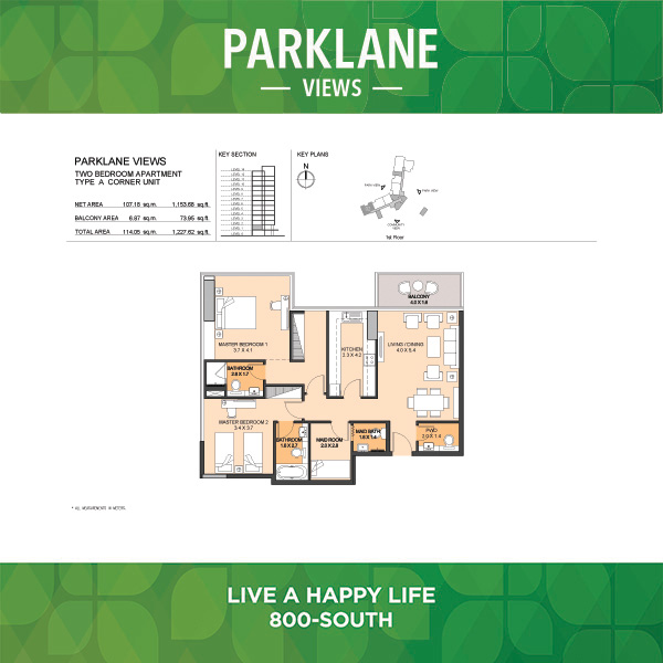 Parklane Views Two Bedroom Apartment Type A Corner Unit