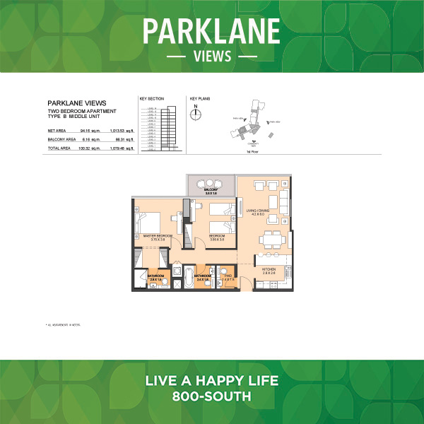 Parklane Views Two Bedroom Apartment Type B Middle Unit