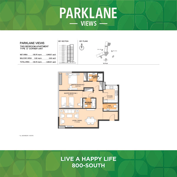 Parklane Views Two Bedroom Apartment Type D Corner Unit