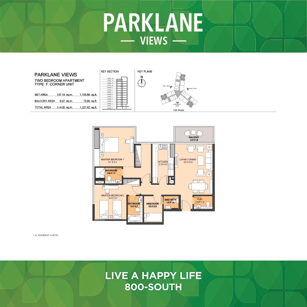 Parklane Views Two Bedroom Apartment Type F Corner Unit