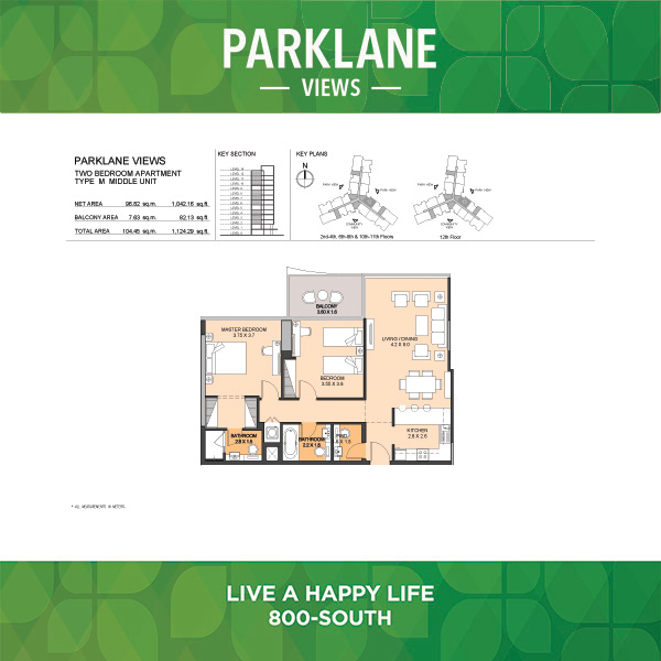 Parklane Views Two Bedroom Apartment Type M Middle Unit