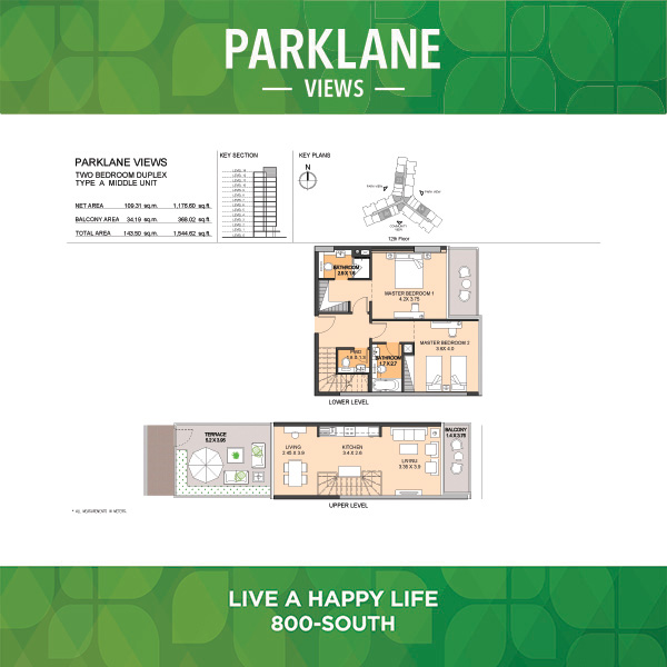 Parklane Views Two Bedroom Duplex Type A Middle Unit