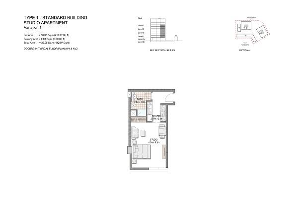 Studio Apartment Type 1 Standard Building Variation 1
