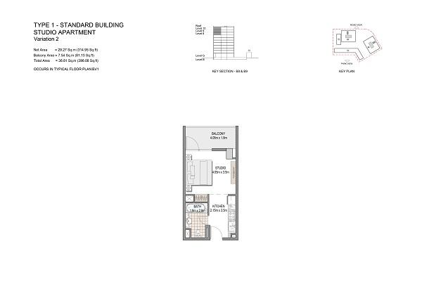 Studio Apartment Type 1 Standard Building Variation 2