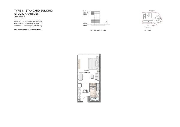 Studio Apartment Type 1 Standard Building Variation 3