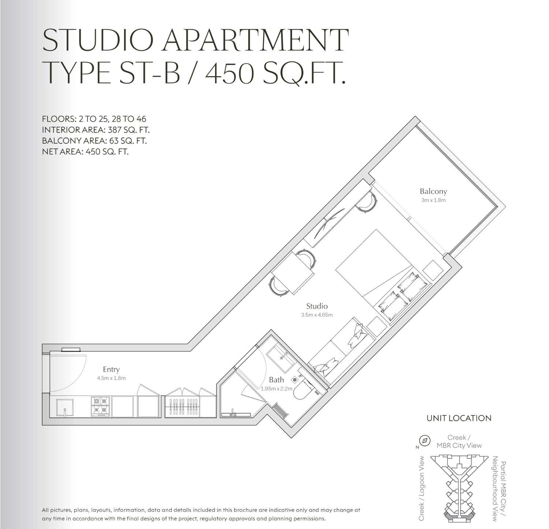 Studio Apartment Type St B 450sqft