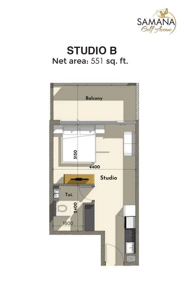 Studio B 551sqft