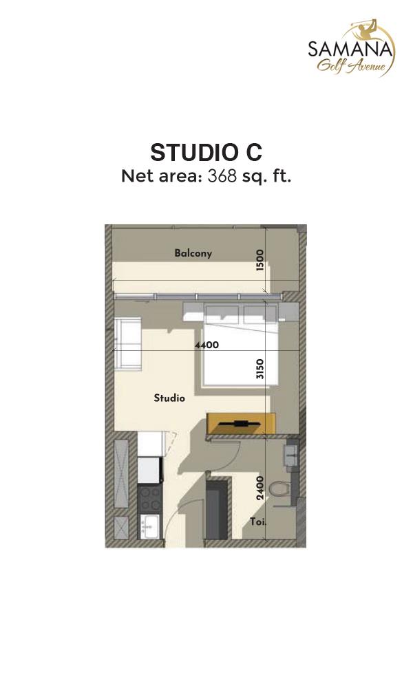 Studio C 368sqft