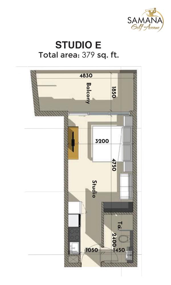 Studio E 379sqft