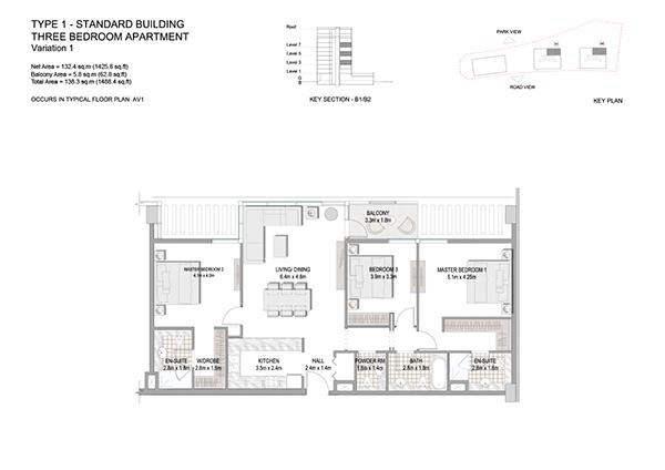 Three Bedroom Apartment Type 1 Standard Building Variation 1