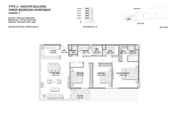 Three Bedroom Apartment Type 2 Anchor Building End Unit Variation 1