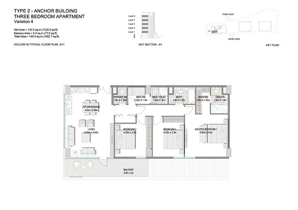 Three Bedroom Apartment Type 2 Anchor Building End Unit Variation 4