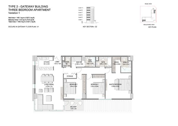Three Bedroom Apartment Type 2 Gateway Building Variation 1 2