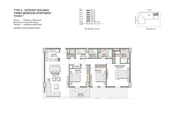 Three Bedroom Apartment Type 2 Gateway Building Variation 1