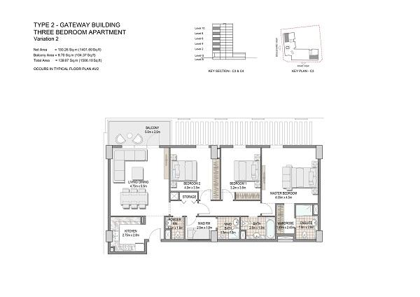 Three Bedroom Apartment Type 2 Gateway Building Variation 2 1