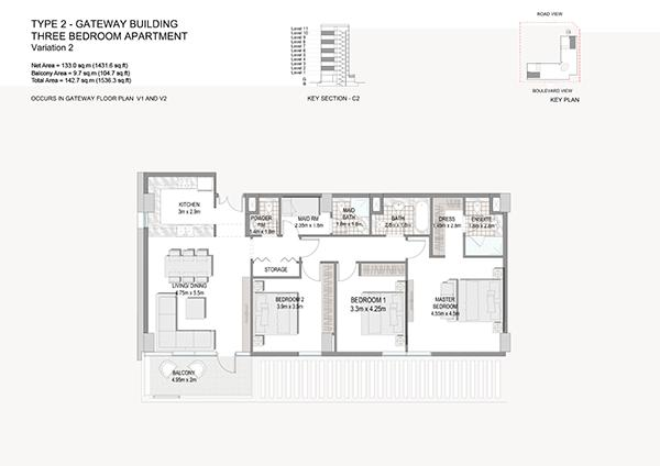 Three Bedroom Apartment Type 2 Gateway Building Variation 2 2