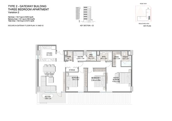 Three Bedroom Apartment Type 2 Gateway Building Variation 2