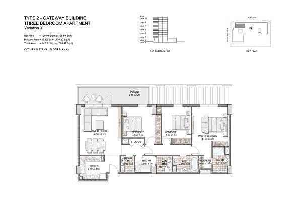 Three Bedroom Apartment Type 2 Gateway Building Variation 3 1