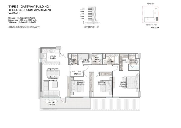 Three Bedroom Apartment Type 2 Gateway Building Variation 3