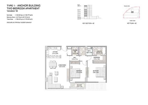 Two Bedroom Apartment Type 1 Anchor Building Variation 1b 2