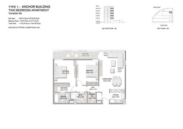 Two Bedroom Apartment Type 1 Anchor Building Variation 2b 2 (2)