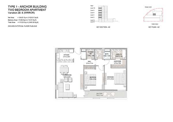 Two Bedroom Apartment Type 1 Anchor Building Variation 2b 2