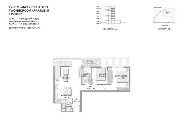 Two Bedroom Apartment Type 1 Anchor Building Variation 3a 2
