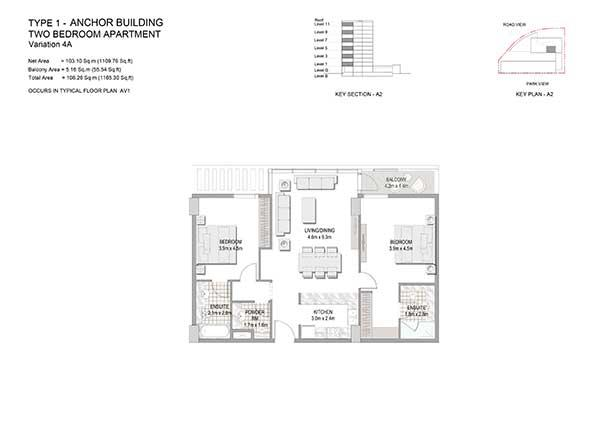 Two Bedroom Apartment Type 1 Anchor Building Variation 4a 2