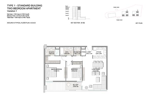 Two Bedroom Apartment Type 1 Standard Building Variation 1