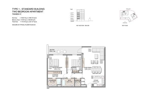 Two Bedroom Apartment Type 1 Standard Building Variation 2