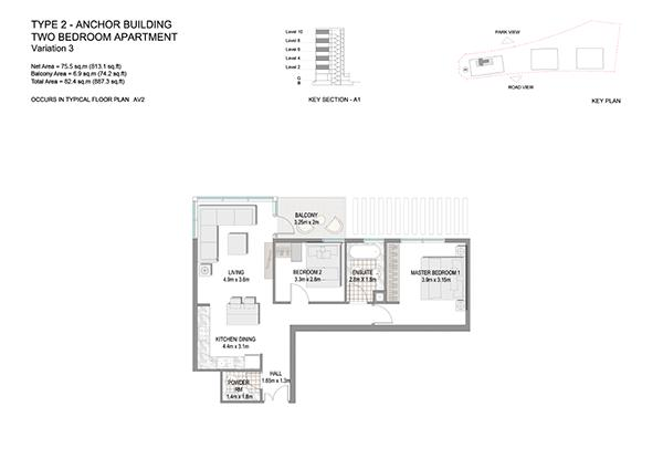 Two Bedroom Apartment Type 2 Anchor Building End Unit Variation 3