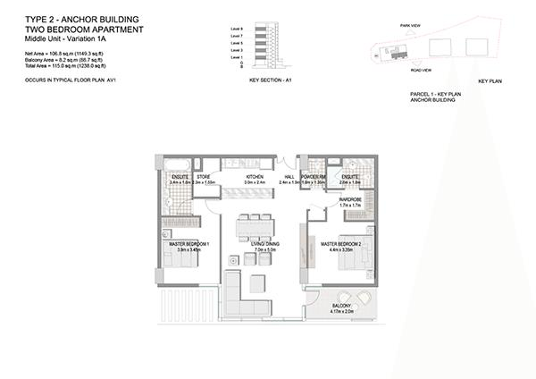 Two Bedroom Apartment Type 2 Anchor Building Middle Unit Variation 1a