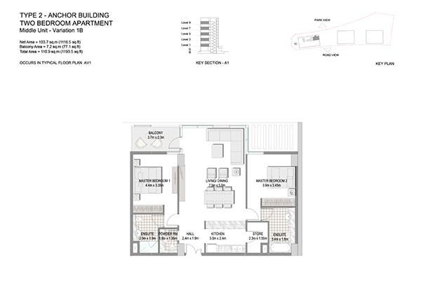 Two Bedroom Apartment Type 2 Anchor Building Middle Unit Variation 1b