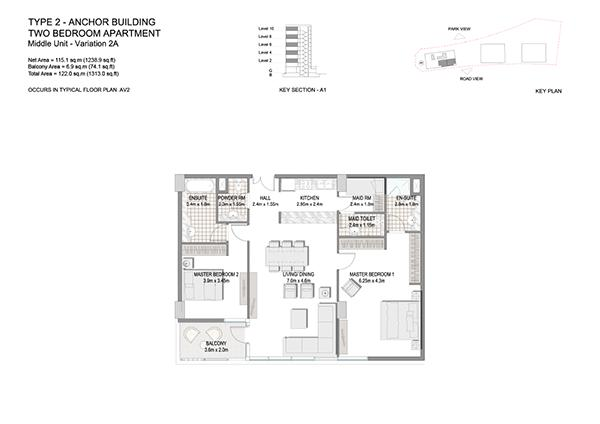 Two Bedroom Apartment Type 2 Anchor Building Middle Unit Variation 2a