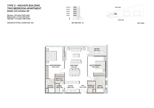 Two Bedroom Apartment Type 2 Anchor Building Middle Unit Variation 2b