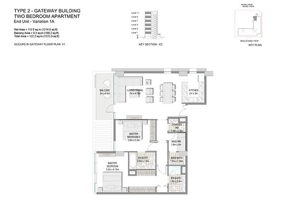 Two Bedroom Apartment Type 2 Gateway Building End Unit Variation 1a.3