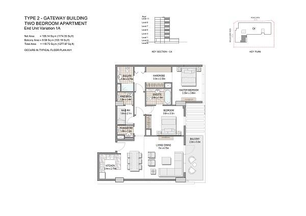 Two Bedroom Apartment Type 2 Gateway Building End Unit Variation 1a