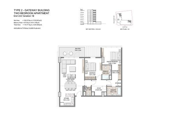 Two Bedroom Apartment Type 2 Gateway Building End Unit Variation 1b.2