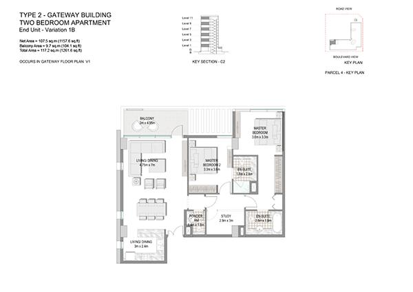 Two Bedroom Apartment Type 2 Gateway Building End Unit Variation 1b.3