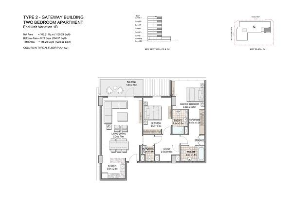Two Bedroom Apartment Type 2 Gateway Building End Unit Variation 1b