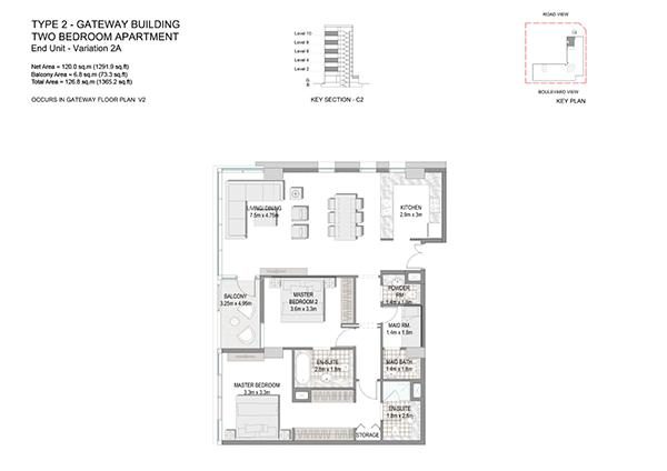Two Bedroom Apartment Type 2 Gateway Building End Unit Variation 2a.1