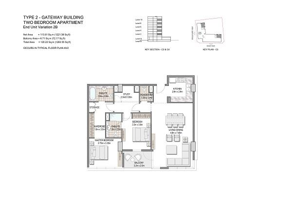 Two Bedroom Apartment Type 2 Gateway Building End Unit Variation 2b.1