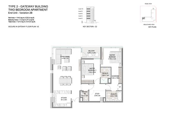 Two Bedroom Apartment Type 2 Gateway Building End Unit Variation 2b
