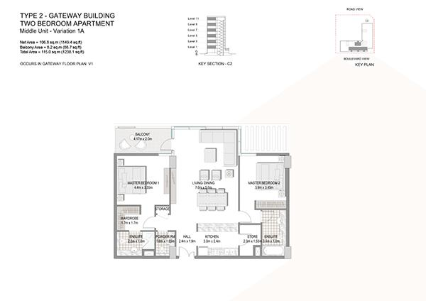 Two Bedroom Apartment Type 2 Gateway Building Middle Unit Variation 1a.1