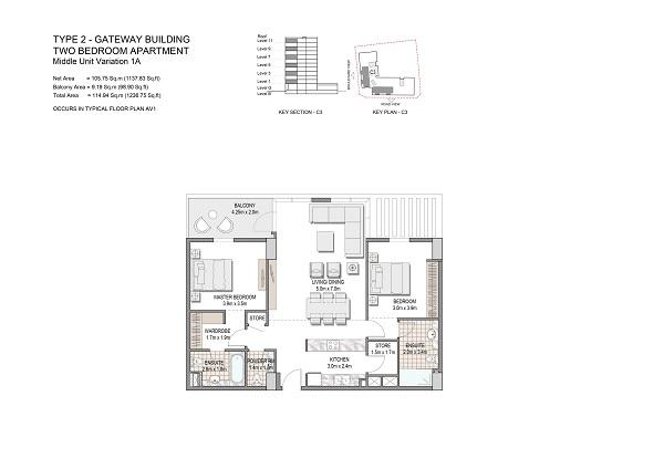 Two Bedroom Apartment Type 2 Gateway Building Middle Unit Variation 1a