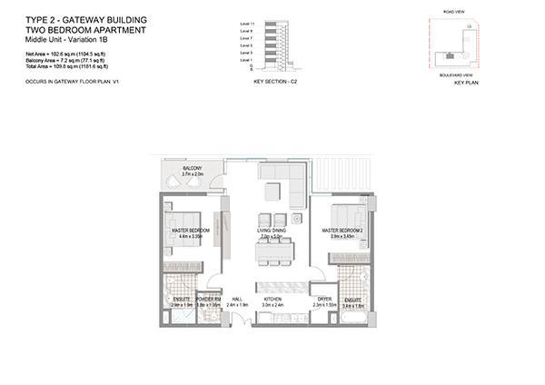 Two Bedroom Apartment Type 2 Gateway Building Middle Unit Variation 1b.1