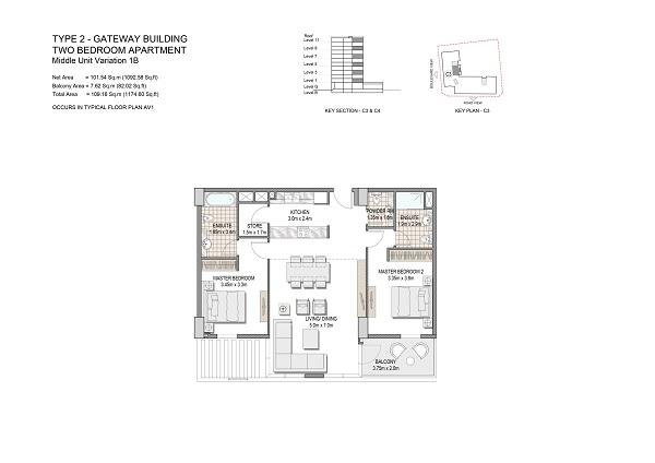 Two Bedroom Apartment Type 2 Gateway Building Middle Unit Variation 1b