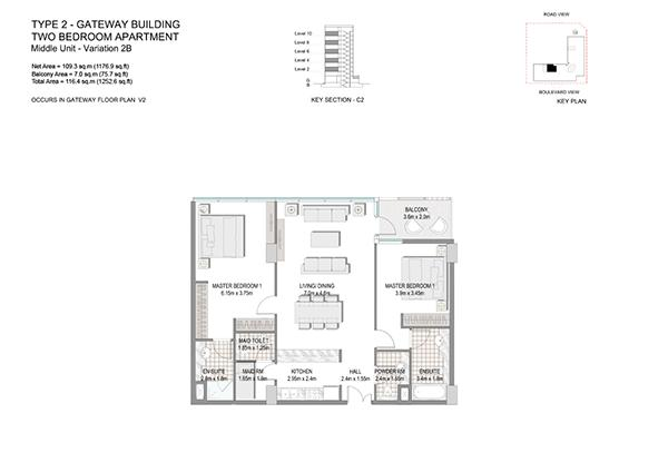 Two Bedroom Apartment Type 2 Gateway Building Middle Unit Variation 28.1